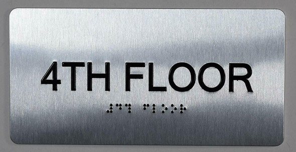 4th Floor Sign- Floor Number Tactile Touch Braille Sign