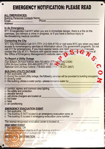 Emergency Notification NOTICE HPD NYC