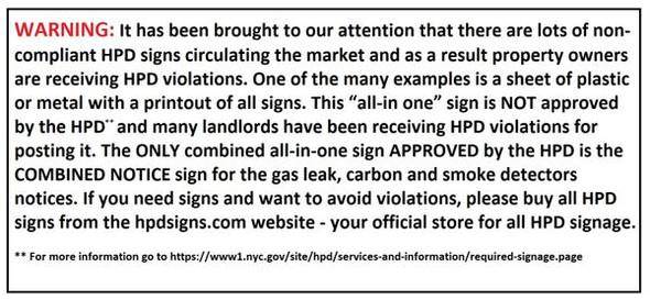 HPD Housing Information Guide sign(White, size 8.5x11, Aluminum, § 26-1103)-El blanco Line