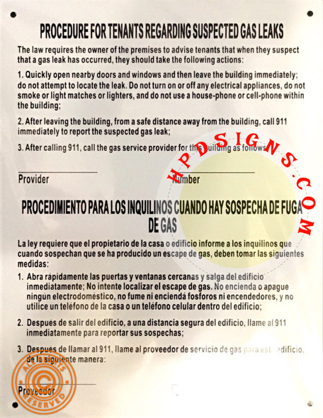 HPD GAS LEAK NOTICE ENGLISH / SPANISH