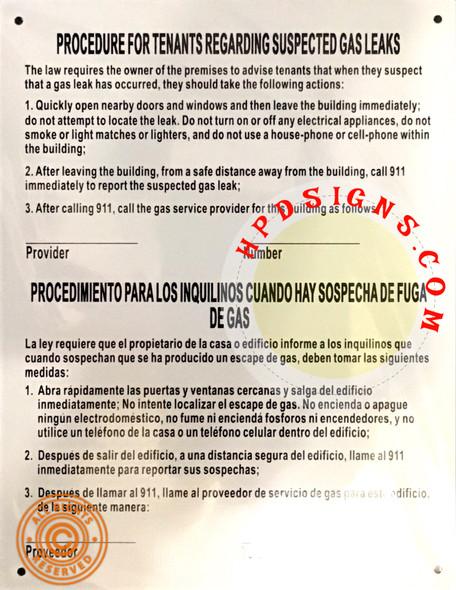 HPD GAS LEAK NOTICE ENGLISH / SPANISH