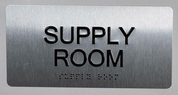 Supply Room Sign Silver-Tactile Touch Braille Sign
