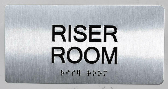 Riser Room Sign Silver-Tactile Touch Braille Sign