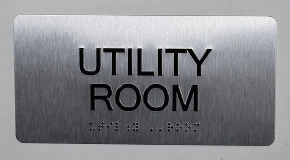 Utility Room Sign Silver-Tactile Touch Braille Sign