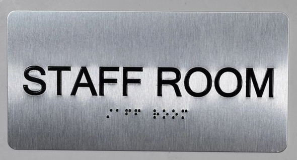 Staff Room Sign Silver-Tactile Touch Braille Sign