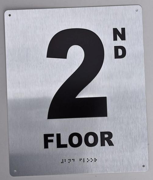 2ND Floor Sign-Tactile Signs - Floor Number Sign-Tactile Signs  Silver