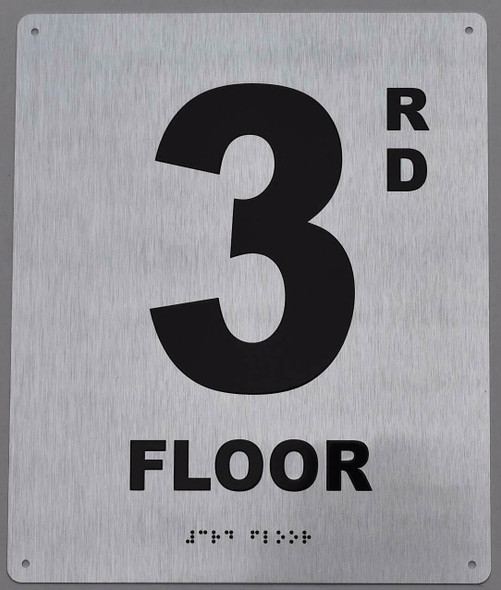 3rd Floor Sign -Tactile Signs Tactile Signs  Floor Number Sign -Tactile Signs Tactile Signs  Tactile Touch Braille Sign - The Sensation line Ada sign