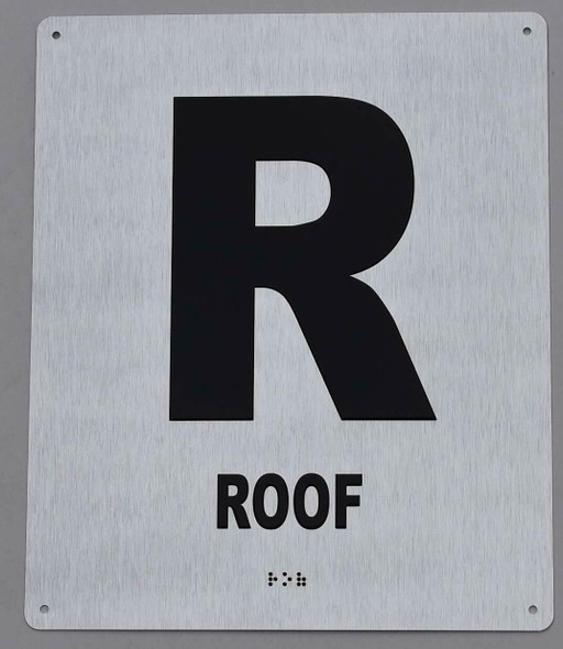 ROOF Floor Number Sign -Tactile Signs Tactile Signs  Tactile Touch Braille Sign - The Sensation line Ada sign
