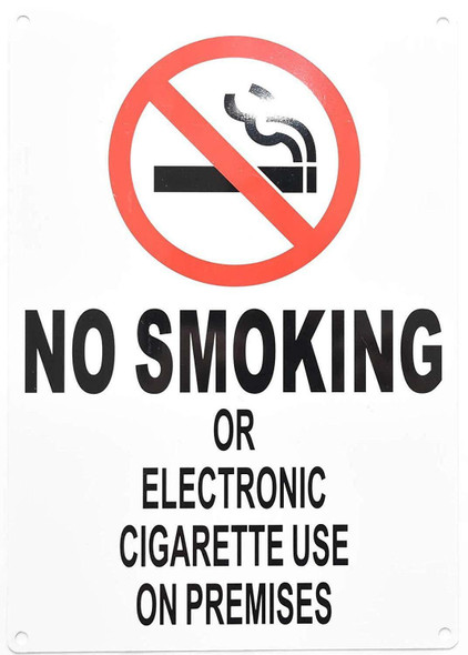 NO Smoking OR Electronic Cigarette USE ON Premises- NYC Smoke Free ACT Sign