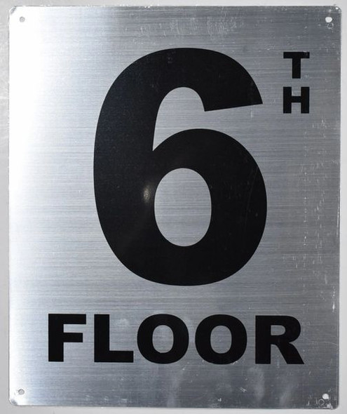 6th Floor Sign- Floor Number Sign- Tactile Touch Braille Sign