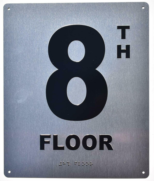 8TH Floor Sign- Floor Number Sign- Tactile Touch Braille Sign