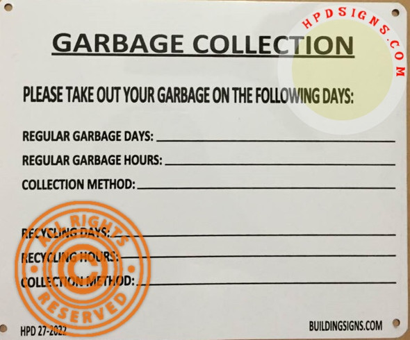 HPD NYC Garbage Collection SIGN 27-2022