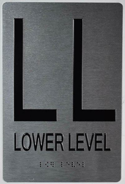 Lower Level Floor Number Sign-Tactile Touch Braille Sign