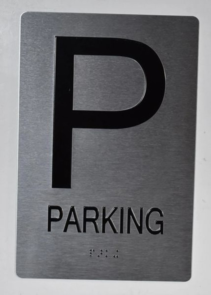 Parking Floor Number Sign Silver - Tactile Touch Braille Sign