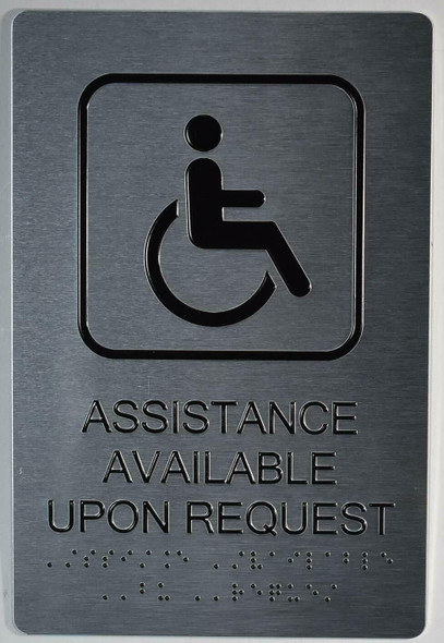 ADA-Assistance Available Upon Request Sign  - Tactile Touch Braille Sign- The Sensation line -Tactile Signs  Ada sign
