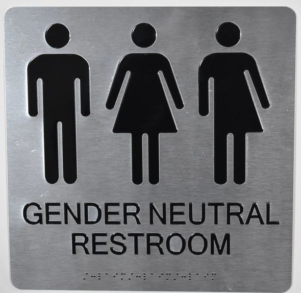 Gender Neutral Restroom Wall Sign Ada Sign