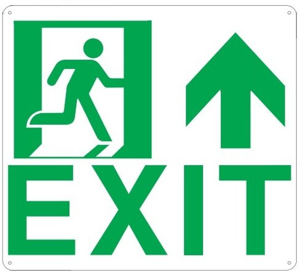 Exit Arrow UP Sign(Glow in The Dark Sign - Photoluminescent,High Intensity