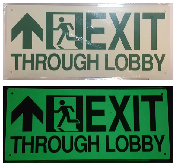 Exit Through Lobby Arrow Straight Sign(Glow in The Dark Sign - Photoluminescent,High Intensity