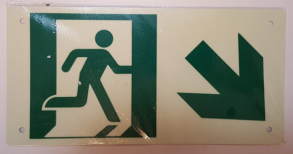RUNNING MAN DOWN RIGHT Sign - Photoluminescent ,High Intensity