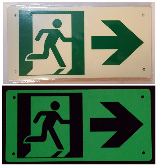 RUNNING MAN RIGHT ARROW Sign (Photoluminescent ,High Intensity