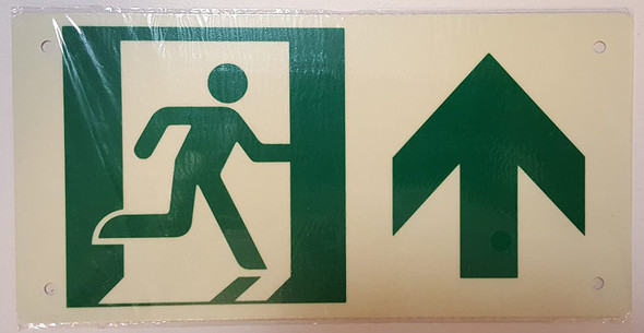 RUNNING MAN UP ARROW Sign - (Photoluminescent ,High Intensity