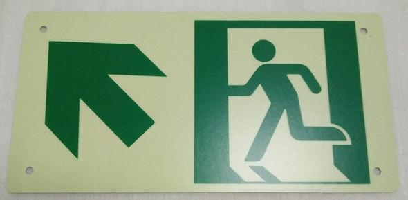 RUNNING MAN UP LEFT ARROW Sign - (Photoluminescent ,High Intensity