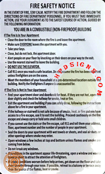 FIRE SAFETY NOTICE FIRE HPD NON FIRE PROOF BUILDING (1)