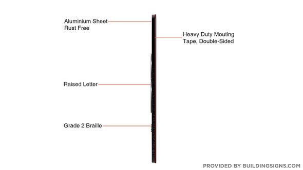 Black 3RD Floor Elevator Jamb Plate  with Braille and Raised Number-Elevator Floor Number