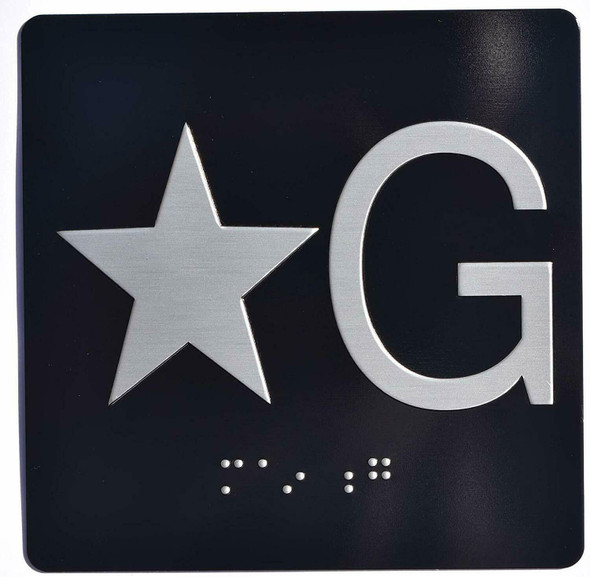 Black Star G (Star Ground) Elevator Jamb Plate  with Braille and Raised Number-Elevator Floor Number