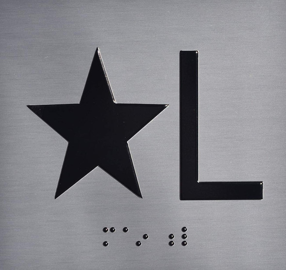 Silver Star L (Star Lobby) Floor Elevator Jamb Plate  with Braille and Raised Number-Elevator Floor Number