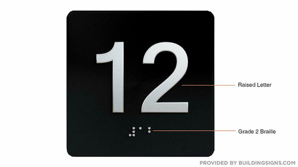 Black 12TH Floor Elevator Jamb Plate  with Braille and Raised Number-Elevator Floor Number