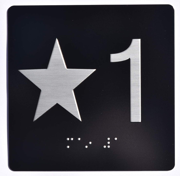 Star 1 - Elevator Jamb Plate Sign with Braille and Raised Number-Elevator Floor Number SignBlack-