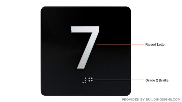 Black 7TH Floor Elevator Jamb Plate  with Braille and Raised Number-Elevator Floor Number