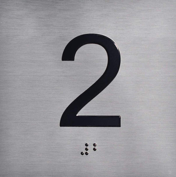 2ND Floor Elevator Jamb Plate  with Braille and Raised Number-Elevator Floor Number Ada Sign