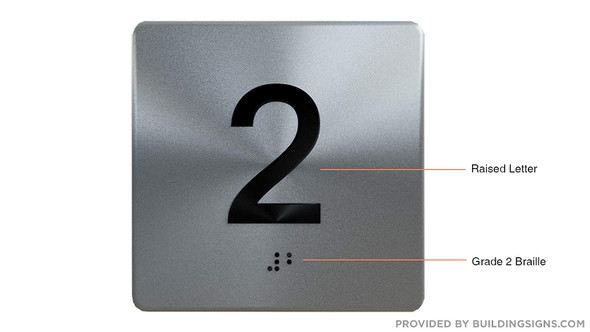 Silver 2ND Floor Elevator Jamb Plate  with Braille and Raised Number-Elevator Floor Number