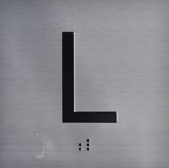 Silver L (Lobby) Floor Elevator Jamb Plate  with Braille and Raised Number-Elevator Floor Number