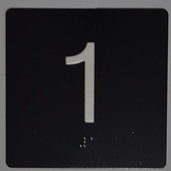 Black 1st Floor Elevator Jamb Plate  with Braille and Raised Number-Elevator Floor Number