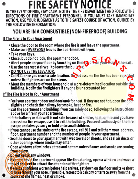 FIRE SAFETY NOTICE HPD  NON FIRE PROOF BUILDING