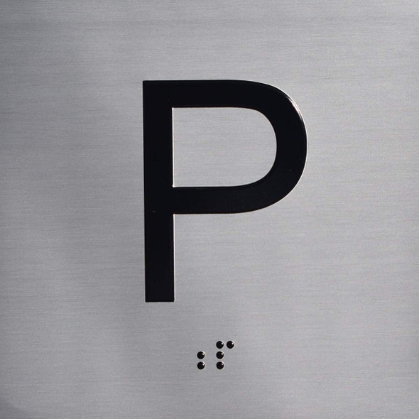 Silver P Floor Elevator Jamb Plate  (Parking) with Braille and Raised Number-Elevator Floor Number
