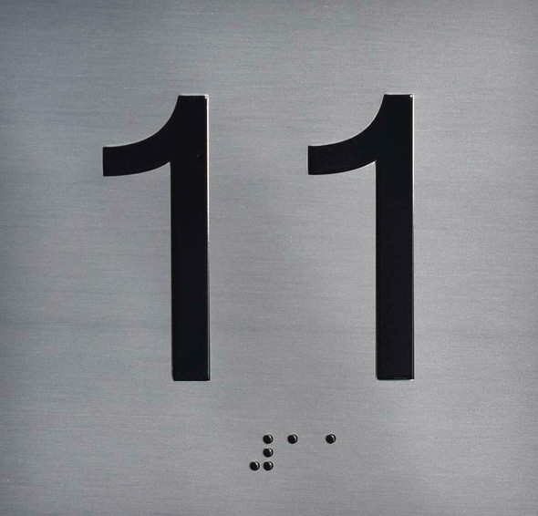 Silver 11TH Floor Elevator Jamb Plate  with Braille and Raised Number-Elevator Floor Number