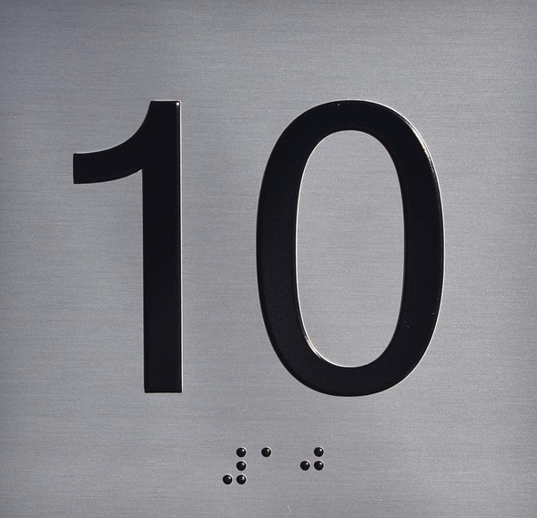 Silver 10TH Floor Elevator Jamb Plate  with Braille and Raised Number-Elevator Floor Number