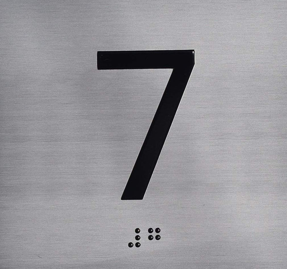 Silver 7TH Floor Elevator Jamb Plate  with Braille and Raised Number-Elevator Floor Number