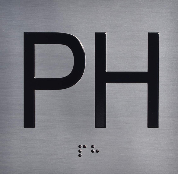 Silver PH Floor Elevator Jamb Plate  with Braille and Raised Number-Elevator Floor Number