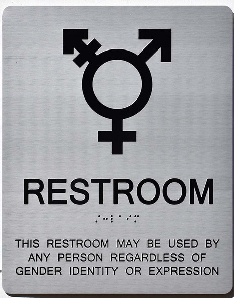 Gender Neutral Symbols Restroom Wall Sign (Silver)