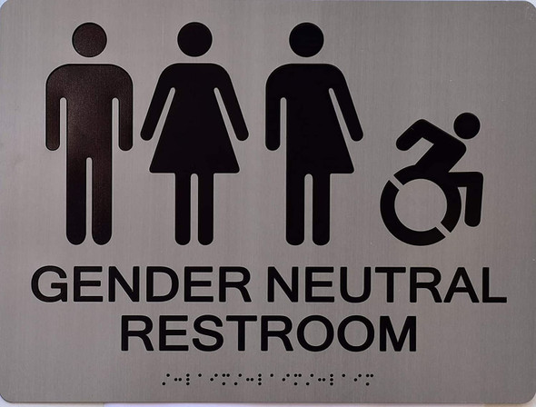 SIGN Gender Neutral Symbols Restroom Wall