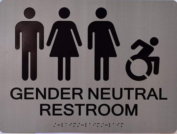 Gender Neutral Symbols Restroom Wall Sign