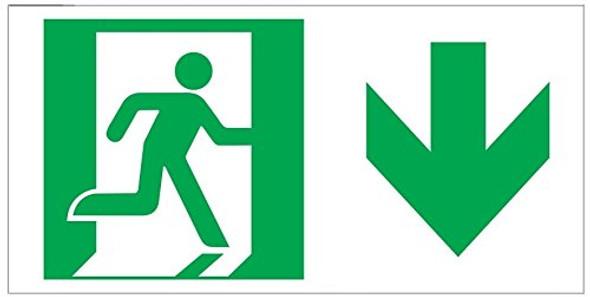 RUNNING MAN DOWN ARROW Sign -Adhesive Sign (Photoluminescent ,High Intensity