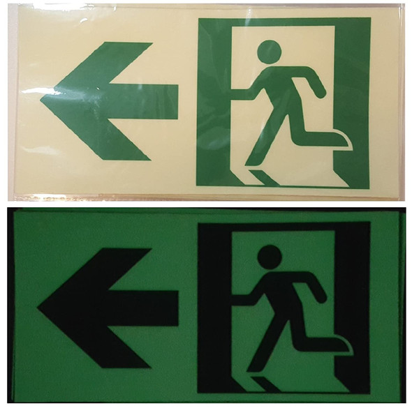 RUNNING MAN DOWN LEFT ARROW EXIT Sign -Adhesive Sign (Photoluminescent ,High Intensity