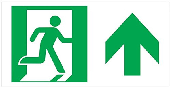 RUNNING MAN FORWARD ARROW Sign -Glow-In-The-Dark High Intensity-Adhesive EXIT Sign (Photoluminescent ,High Intensity