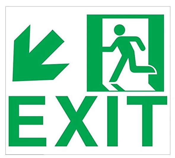 Exit Sign Down Left (Glow in The Dark Sticker Sign